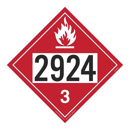UN#2924 Flammable Stock Numbered Placard