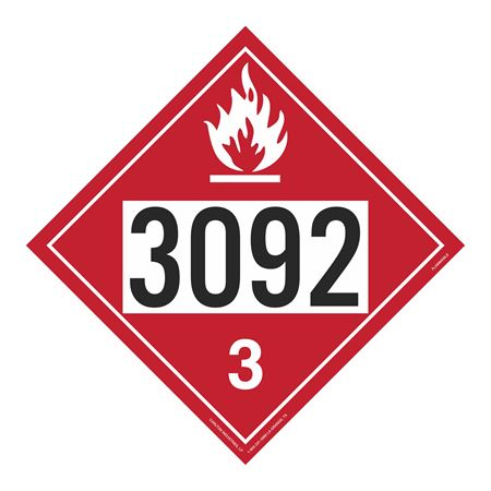 UN#3092 Flammable Stock Numbered Placard
