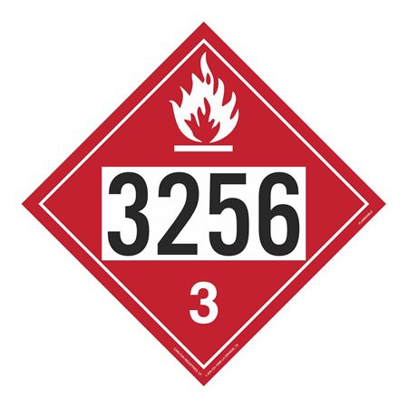UN#3256 Flammable Stock Numbered Placard
