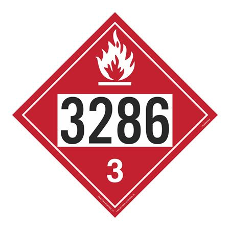 UN#3286 Flammable Stock Numbered Placard