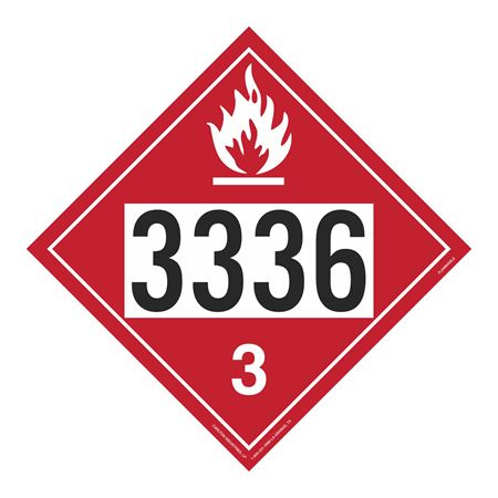 UN#3336 Flammable Stock Numbered Placard