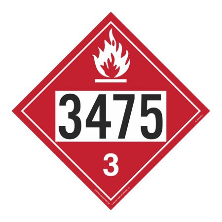 UN#3475 Flammable Stock Numbered Placard