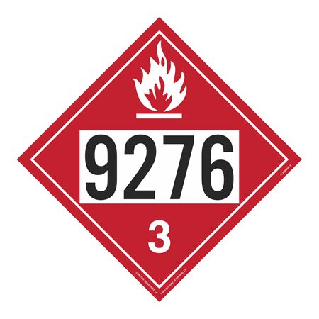 UN#9276 Flammable Stock Numbered Placard