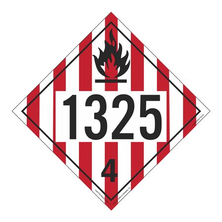 UN#1325 Flammable Solid Stock Numbered Placard