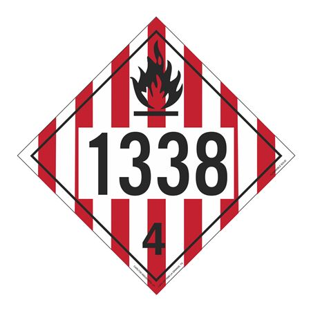 UN#1338 Flammable Solid Stock Numbered Placard