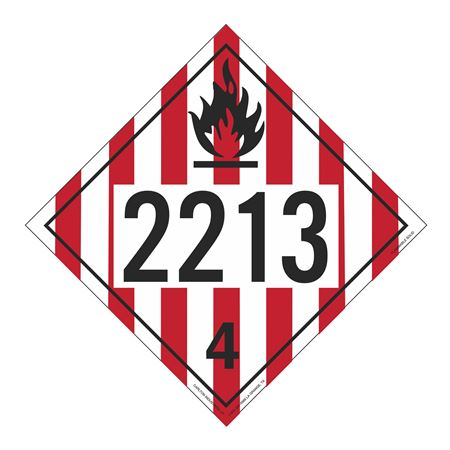 UN#2213 Flammable Solid Stock Numbered Placard