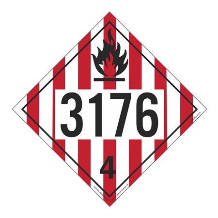 UN#3176 Flammable Solid Stock Numbered Placard