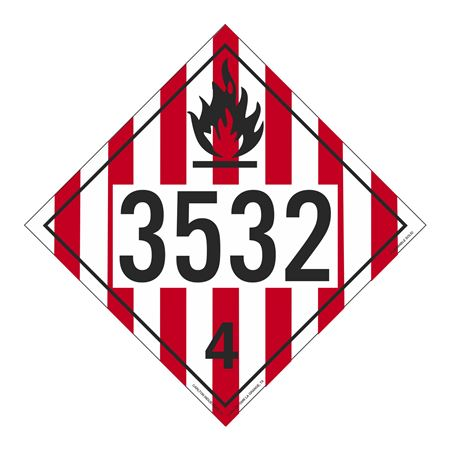 UN#3532 Flammable Solid Stock Numbered Placard