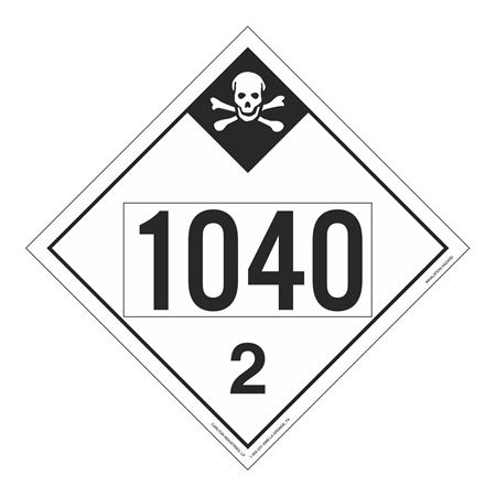 UN#1040 Inhallation Hazard Stock Numbered Placard