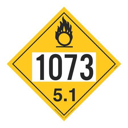UN#1073 Oxidizer Stock Numbered Placard