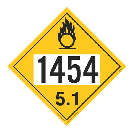 UN#1454 Oxidizer Stock Numbered Placard