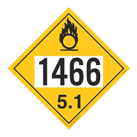 UN#1466 Oxidizer Stock Numbered Placard