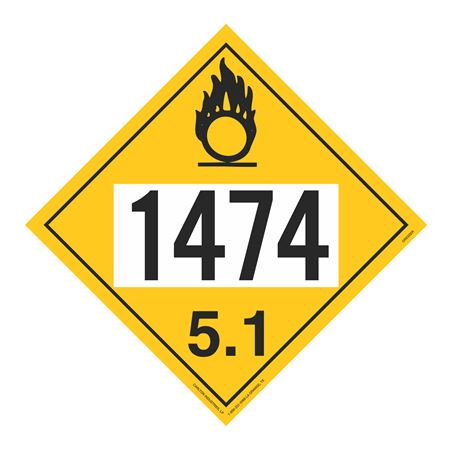 UN#1474 Oxidizer Stock Numbered Placard