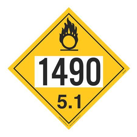 UN#1490 Oxidizer Stock Numbered Placard