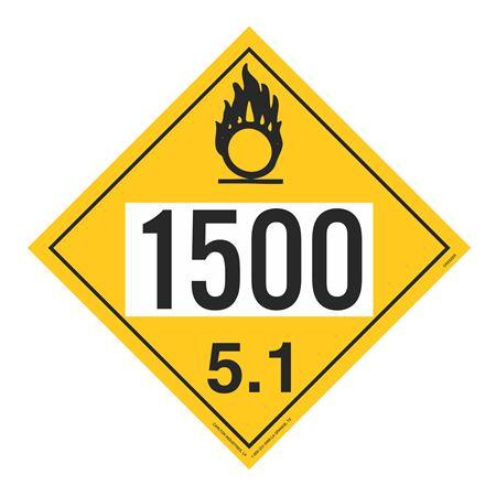 UN#1500 Oxidizer Stock Numbered Placard