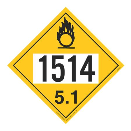 UN#1514 Oxidizer Stock Numbered Placard