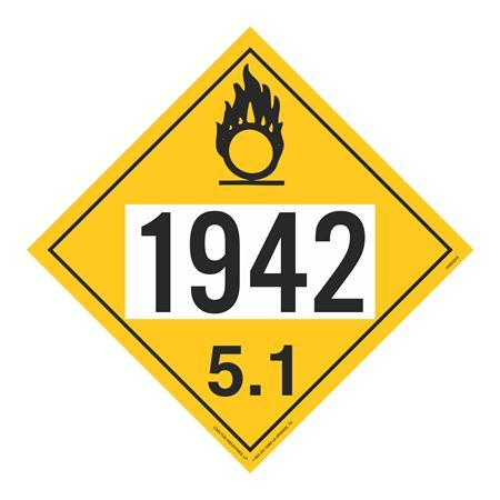 UN#1942 Oxidizer Stock Numbered Placard