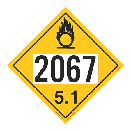 UN#2067 Oxidizer Stock Numbered Placard