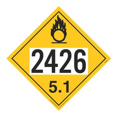 UN#2426 Oxidizer Stock Numbered Placard