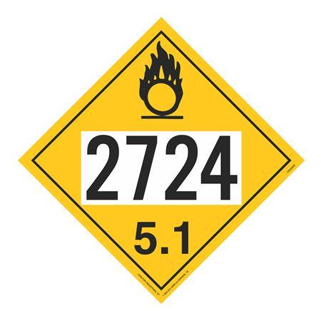 UN#2724 Oxidizer Stock Numbered Placard