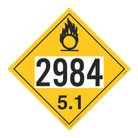 UN#2984 Oxidizer Stock Numbered Placard