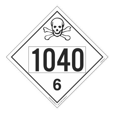 UN#1040 Poison Stock Numbered Placard