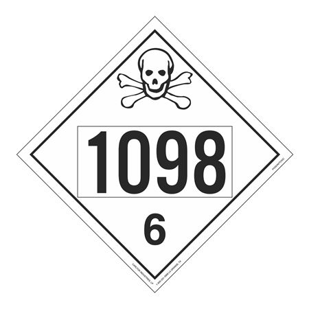 UN#1098 Poison Stock Numbered Placard
