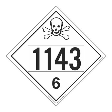UN#1143 Poison Stock Numbered Placard