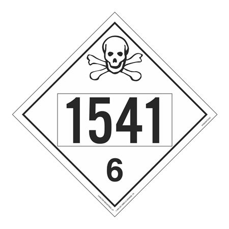 UN#1541 Poison Stock Numbered Placard