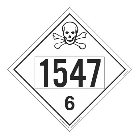 UN#1547 Poison Stock Numbered Placard