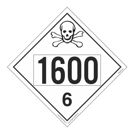 UN#1600 Poison Stock Numbered Placard