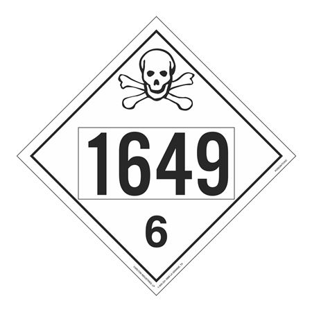 UN#1649 Poison Stock Numbered Placard