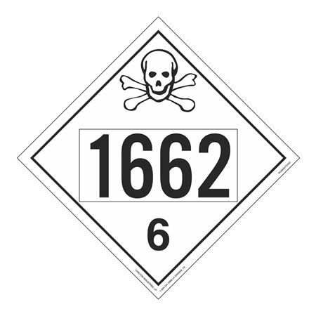 UN#1662 Poison Stock Numbered Placard