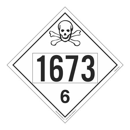 UN#1673 Poison Stock Numbered Placard