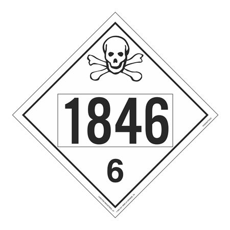 UN#1846 Poison Stock Numbered Placard