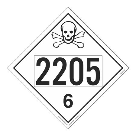 UN#2205 Poison Stock Numbered Placard