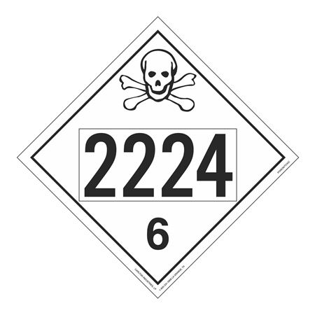 UN#2224 Poison Stock Numbered Placard