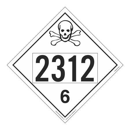 UN#2312 Poison Stock Numbered Placard