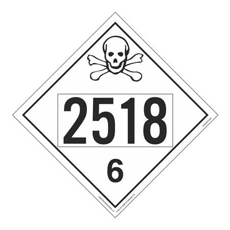 UN#2518 Poison Stock Numbered Placard