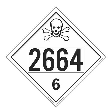 UN#2664 Poison Stock Numbered Placard