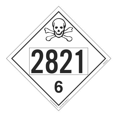 UN#2821 Poison Stock Numbered Placard
