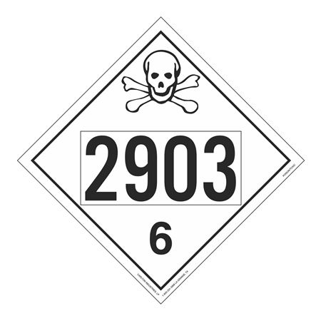 UN#2903 Poison Stock Numbered Placard