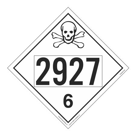 UN#2927 Poison Stock Numbered Placard