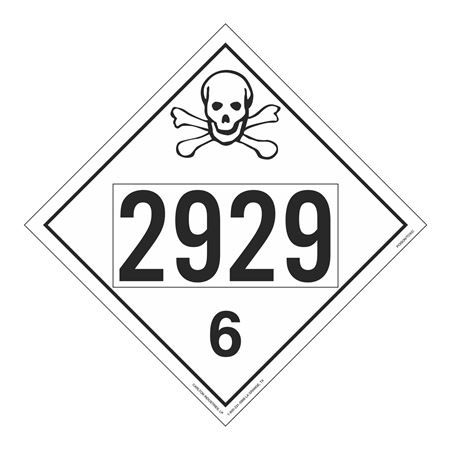 UN#2929 Poison Stock Numbered Placard