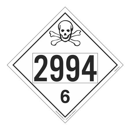UN#2994 Poison Stock Numbered Placard