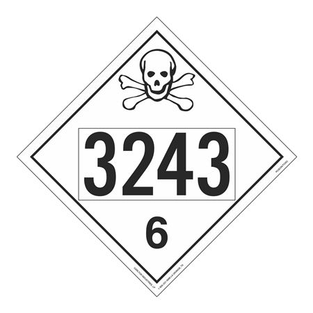 UN#3243 Poison Stock Numbered Placard