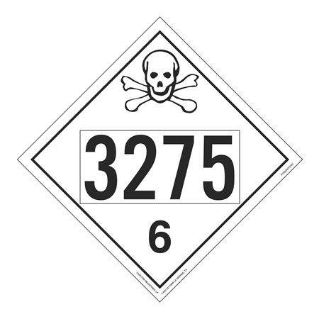 UN#3275 Poison Stock Numbered Placard