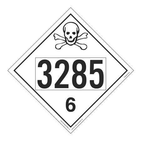 UN#3285 Poison Stock Numbered Placard