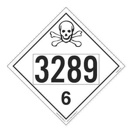 UN#3289 Poison Stock Numbered Placard