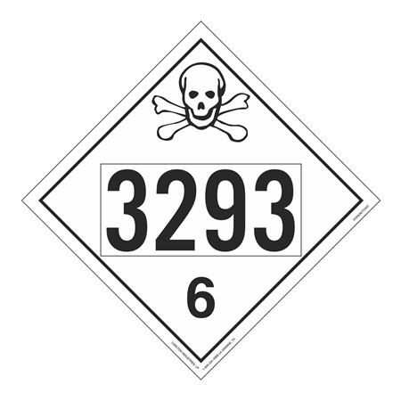 UN#3293 Poison Stock Numbered Placard